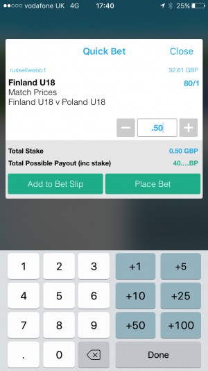Quick bet Receipt Mobile Web – Fully visualised