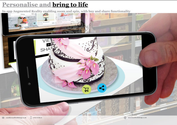 Design an App-based upsell mechanic for wedding cakes - e-commerce product retail sales UX UI